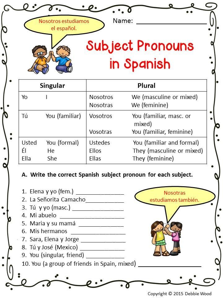 Spanish Subject Pronouns Worksheets and Posters Pronoun