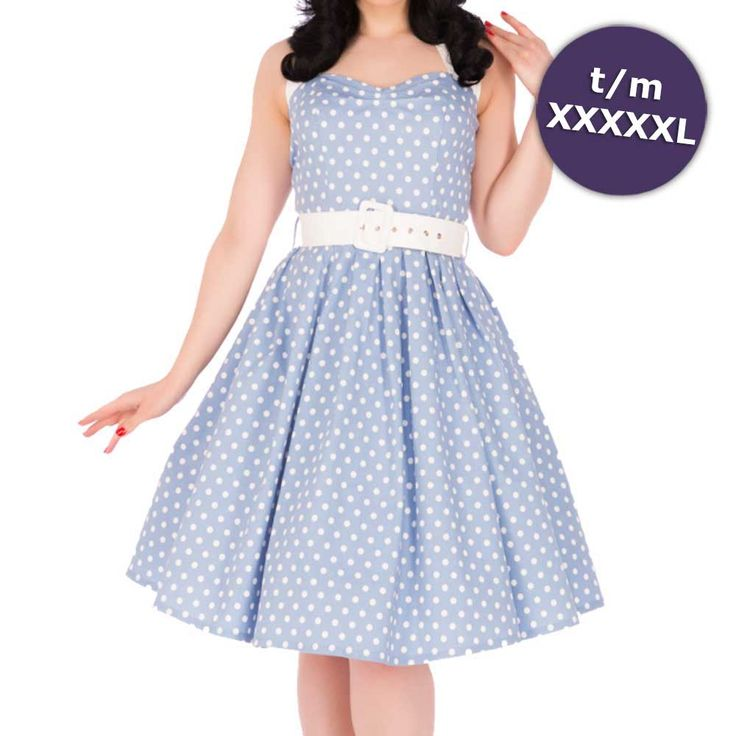 Sophie swing jurk met witte polkadot stippen print en halternek lichtblauw - Vintage 50's Rockabilly retro