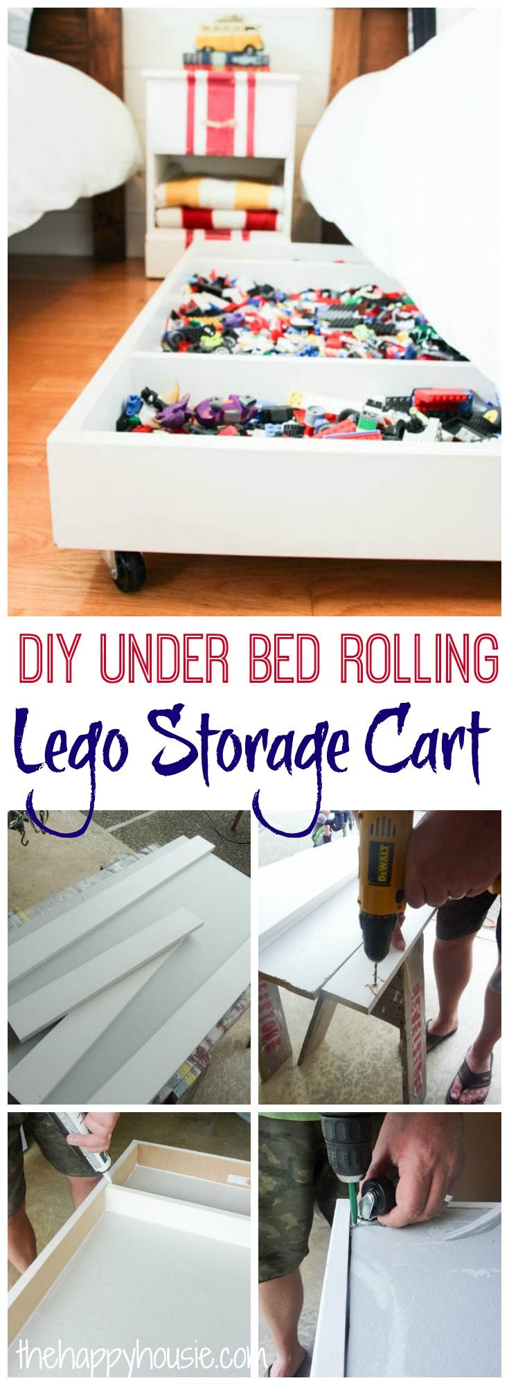 Tackle your lego storage issues with this DIY Under Bed Rolling Lego Storage Cart at thehappyhousie.com