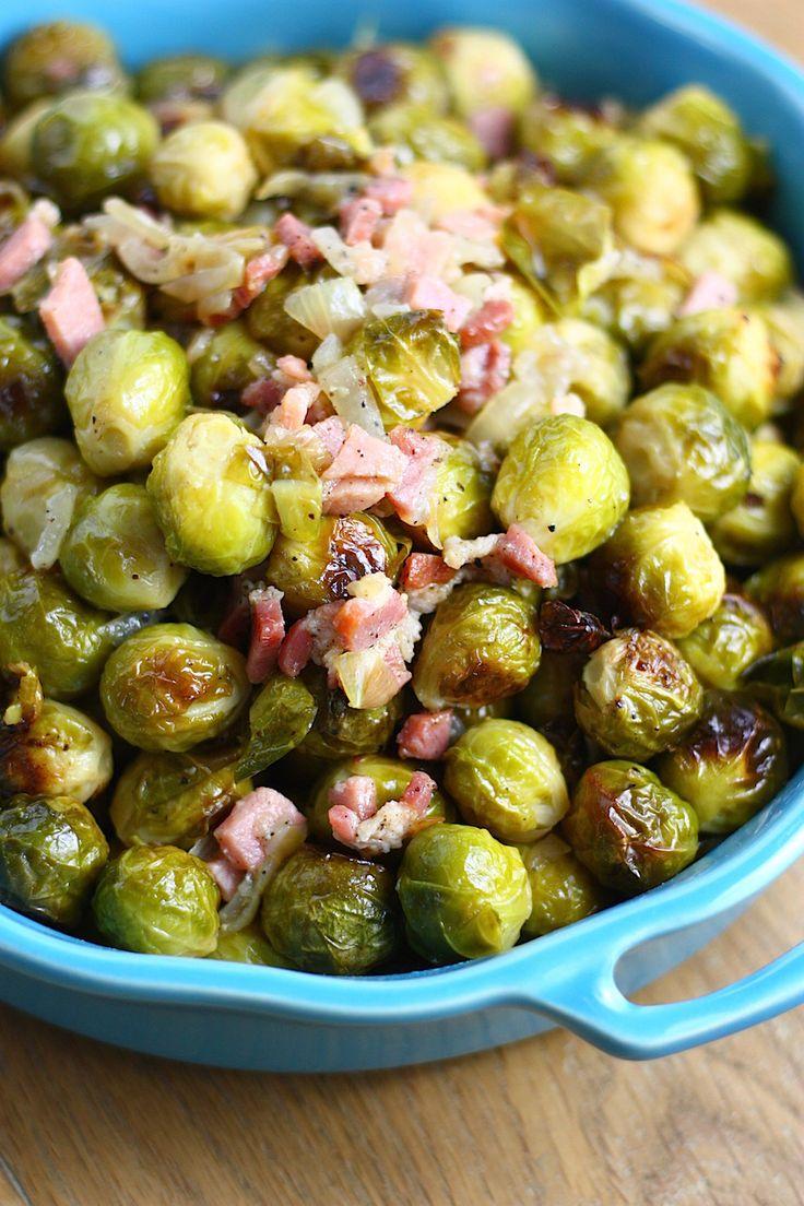 Geroosterde spruitjes met ui en bacon - Francesca Kookt
