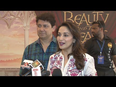Madhuri Dixit with husband at screening of the musical Disney BEAUTY & THE BEAST.