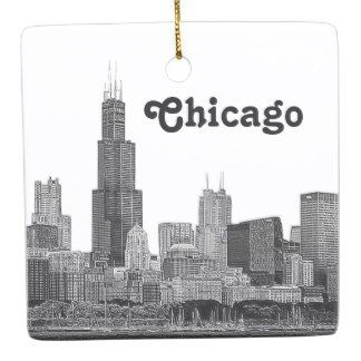 Chicago Christmas Ornament Etched Ceramic