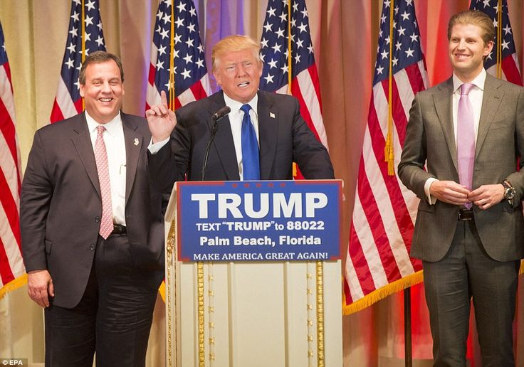 Victory: The billionaire real estate tycoon, pictured with his son Eric Trump (right) and Gov. Christie, (left), has been declared the GOP primary winner in Alabama, Arkansas, Georgia, Massachusetts, Tennessee, Vermont and Virginia on Super Tuesday