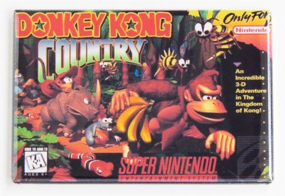 Donkey Kong Country Video Game Box Fridge Magnet Donkey Kong