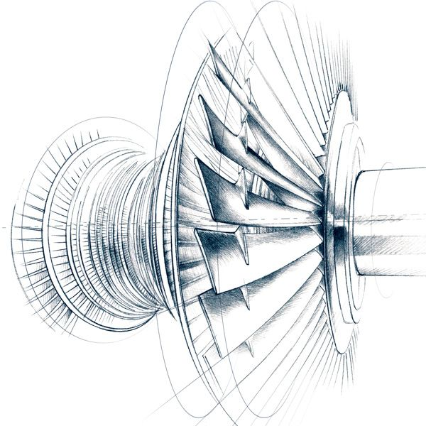 illustration technique turbine Florence Gendre #illustration #design #graphisme #moteur #technique