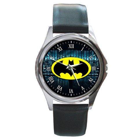 Nuovo BATMAN Logo rotondo Leatherband Metal Watch 001 di SmileKu