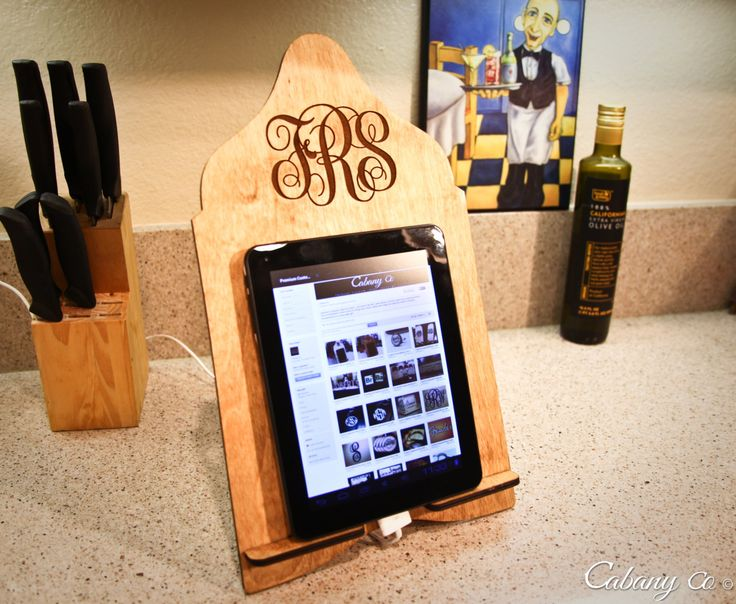 Custom Engraved Wood Initials Monogram Cook Book Stand Recipe Stand Tablet Stand Docking Stand Kindle Nook