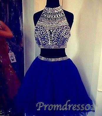 prom dresses - cute beaded navy tulle short prom dress for teens - ball gown, evening dresses for season 2015