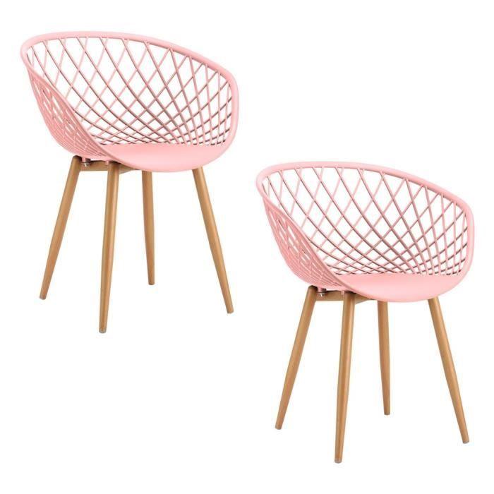 Lot De 2 Chaises Scandinaves Tango 57x63xh81cm Rose Chaise Meuble De Style Chaise Scandinave