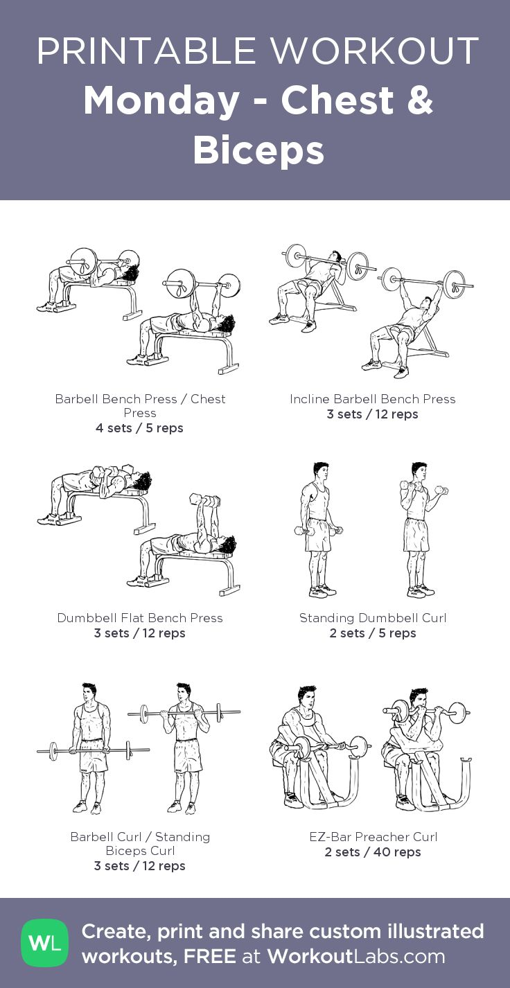 Monday - Chest & Biceps:my visual workout created at WorkoutLabs.com • Click through to customize and download as a FREE PDF! #customworkout