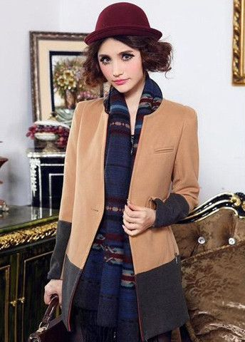 Stylish Light Tan and Grey Splicing V Neck Button Closed Trench Coats – teeteecee - fashion in style