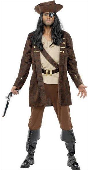 Costume da adulto da Pirata Bucaniere. Nella confezione troverete: un paio di pantaloni marroni e un top beige con una cintura stampata, una giacca marrone con dettagli oro e un cappello marrone da pirata.