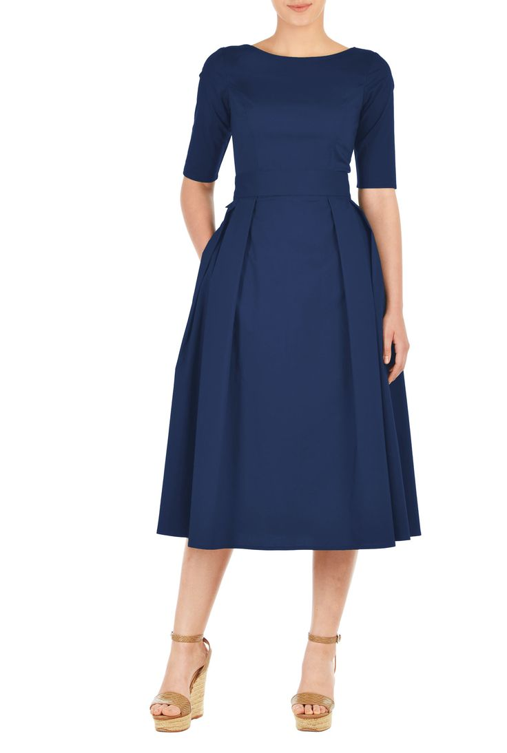 Our stretch cotton poplin dress is cinched in with an elasticated self-belt and a wide bow at the back. The princess-seamed bodice and pleated skirt are classically flattering, while pockets and a midi-length hemline offer modern elements.