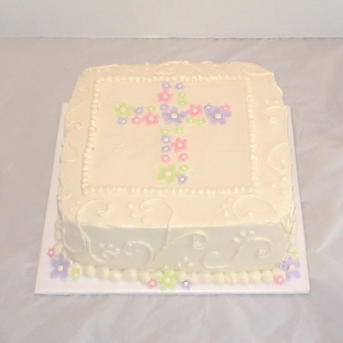 Square Christening Cake Images : square baptism cake with flowers I LIKE Pinterest ...