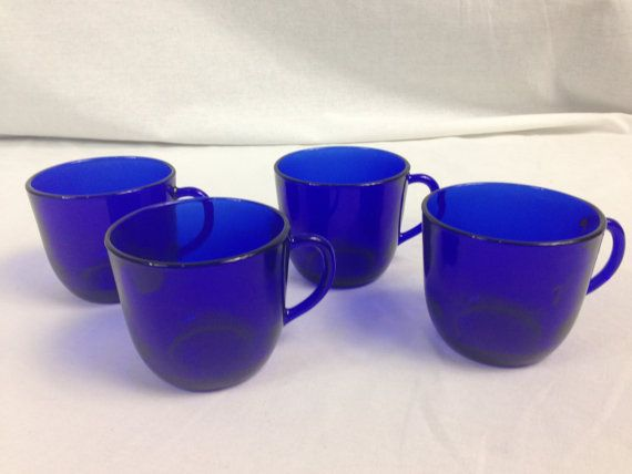Cobalt Blue Glass Tea Cups Coffee Mugs Set of Four by OfYearsPast