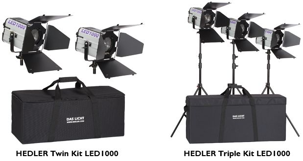 Triple Kit LED1000 The Triple Kit LED1000 allows a wide variety of lighting options. The main subject or area and background can be lit separately. Ideal for the professional video interview, for product videos or even video documentation. The Triple Kit LED1000 consists of: 3 x HEDLER Profilux LED1000, 3 x 4-Leaf barndoor 360°, 3 x light stand 2,37 m and 1 x LightCase XL.