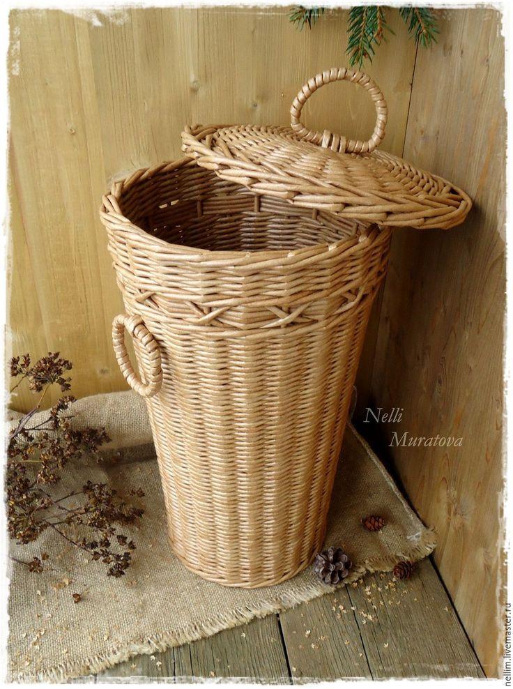 """Купить """"Уют старины"""" Корзина плетеная - коричневый, плетеная корзина, круглая плетеная корзина"""