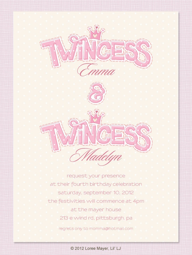 Twincess Birthday Invitation for Twin Girls, Princess. #organizedshower #containerstore