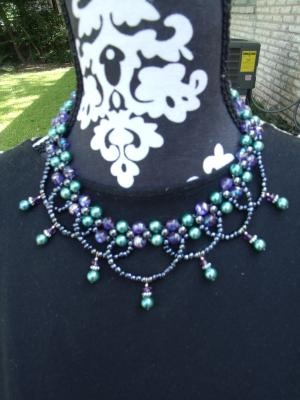 Purple and teal swag necklace