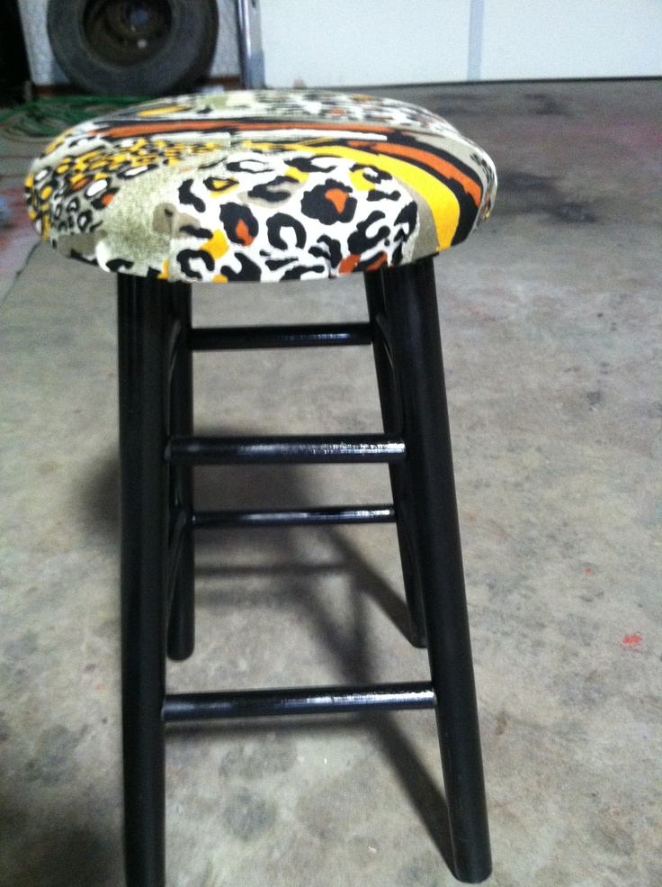 Upcycled bar stool in black with Animal print cushion  : 9a372950752d6273b94e646648c2b667 from www.pinterest.com size 736 x 985 jpeg 279kB