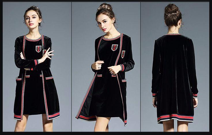 L- 5XL 2 Piece Set Black Velvet Coat And  Suit Fall   Designer – artifashion.net