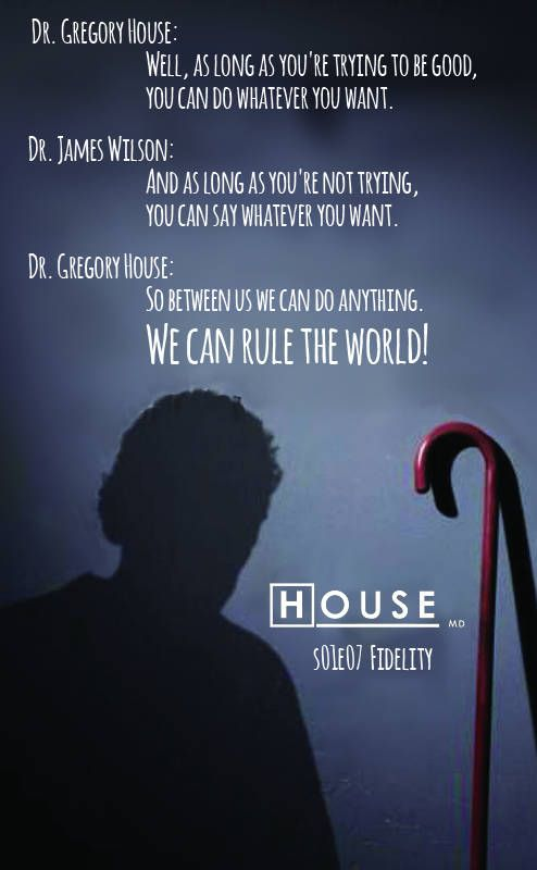 "House MD | Dr. House s01e07 Fidelity (2004) ""Dr. Gregory House: Well, as long as you're trying to be good, you can do whatever you want. Dr. James Wilson: And as long as you're not trying, you can say whatever you want. Dr. Gregory House: So between us we can do anything. We can rule the world!"""