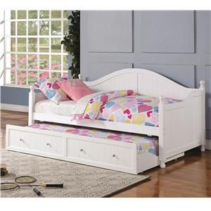 Daybeds by Coaster White Wooden Daybed with Trundle