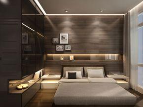 Un dormitor in care s-a optat pentru un decor modern in care culorile inchise primeaza. De asemenea, felul in care este iluminat acest dormitor asigura mai multa eleganta incaperii. #decordormitor, #amenajaridormitor, #dormitormodern - Dream Homes