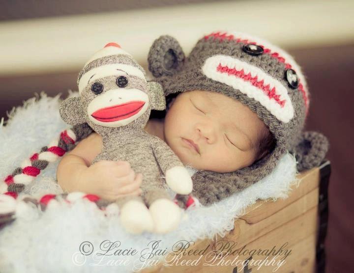 Crochet Sock Monkey Hat and Doll Set