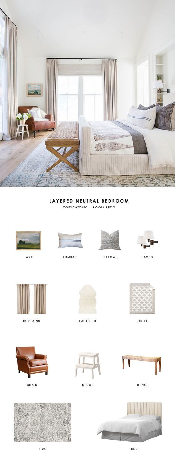 Traditional modern bedroom ideas - A Traditional Modern Neutral Bedroom By Amber Interiors Gets Recreated For Less By Copycatchic Luxe Living