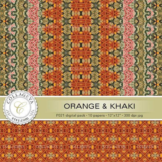 "Orange & Khaki (P021) Digital Paper Pack, 10 printable images, 12""x12"", pale green, tangerine, pink, seamless patterns, border, Scrapbooking by collageva"