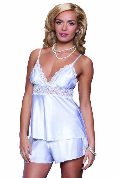 Womens White Satin Pajamas: Cami
