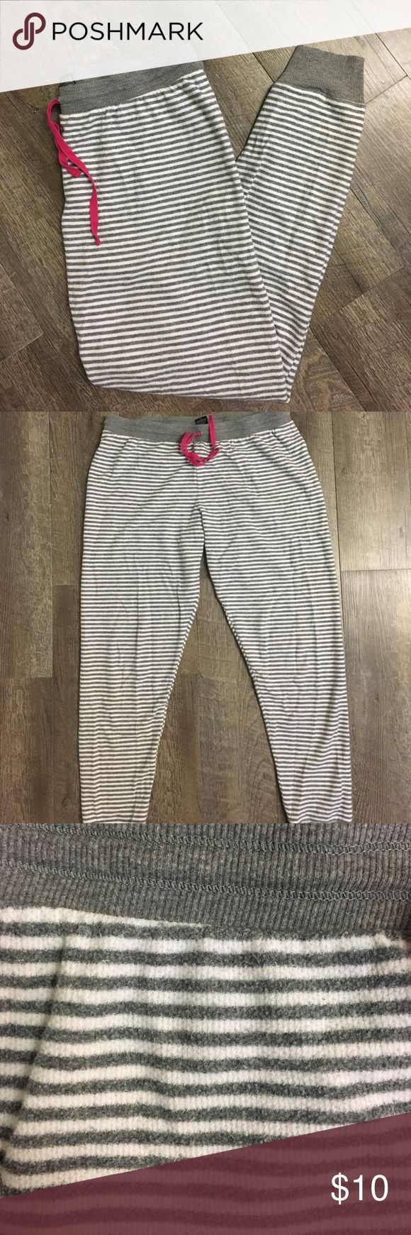 Women's super cozy pajama pants Women's Large grey and white striped cozy pajama pants Intimates & Sleepwear