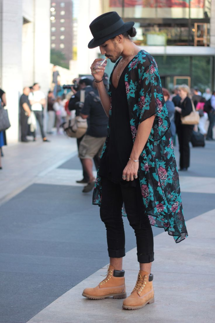 WILLY CARTIER from Request Model Management standing at Lincoln Center during New York Fashion Week.