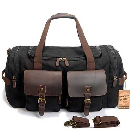 0054102e75f4 9.best duffle bags for travel: SUVOM Leather Canvas Duffle Bag ...