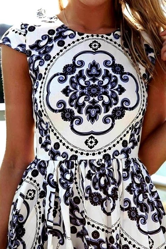 printed white dress