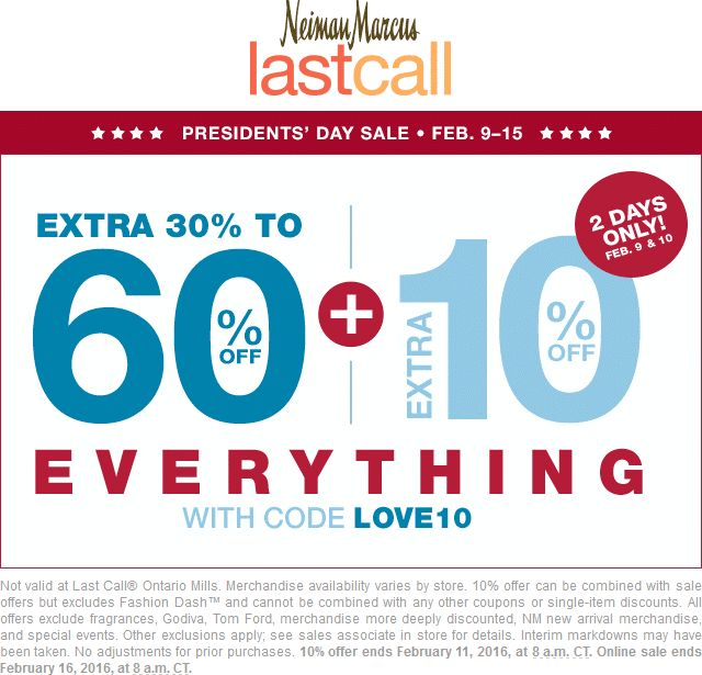 Pinned February 9th: 40-70% off everything at Neiman #Marcus Last Call or online via promo code LOVE10 #coupon via The #Coupons App