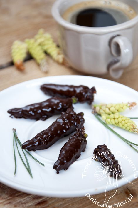 sosnersy, male flowers of pine in chocolate, pine inflorescences in chocolate