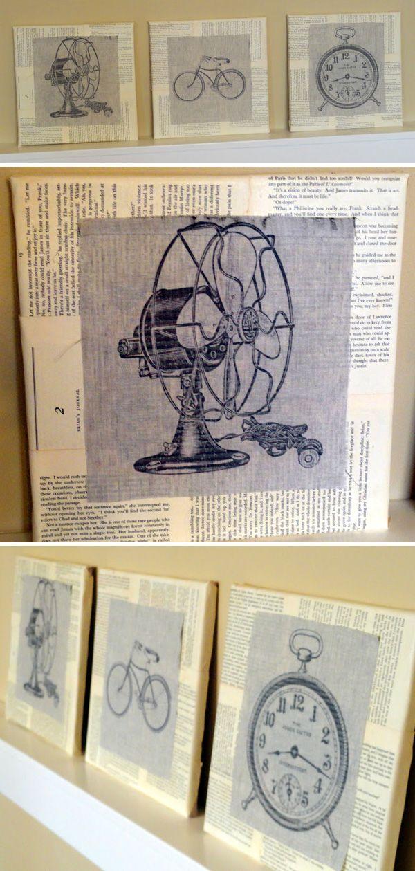 BOOK CRAFTS / WALL ART :: DIY Linen & Book Page Canvas Tutorial   #bookpages #wallart