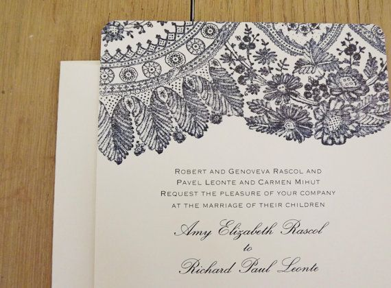 Blush Lace Wedding Invitations - Shown in Navy - Save the Date, RSVP, Reception Cards