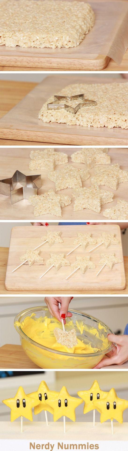Rosanna Pansino — How to make Mario Star Rice Krispy Pops!