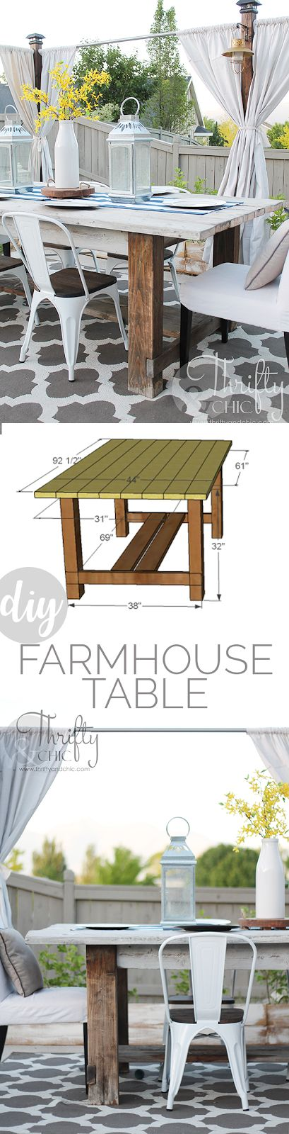 DIY farmhouse table tutorial. Outdoor decor and decorating ideas. Patio decor and decorating