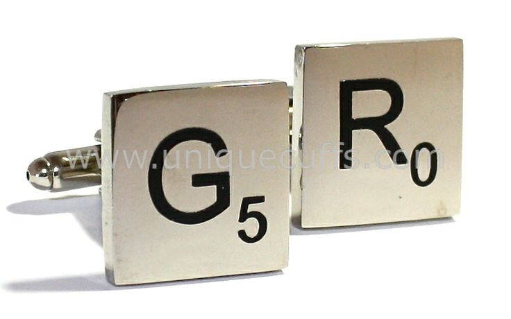 This was one the most creative ideas for groomsmen gifts that we have seen - custom color engraved cufflinks with scrabble tiles!