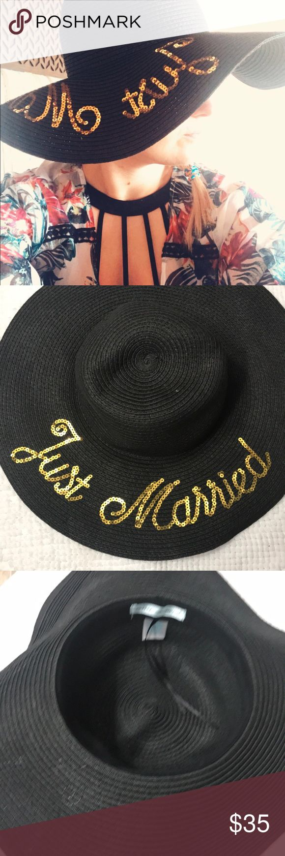 Betsey Johnson floppy Summer hat JUST MARRIED hat. Used our honeymoon. Black floppy hat with gold sequin letters. All sequins intact. Like new. Betsey Johnson Accessories Hats