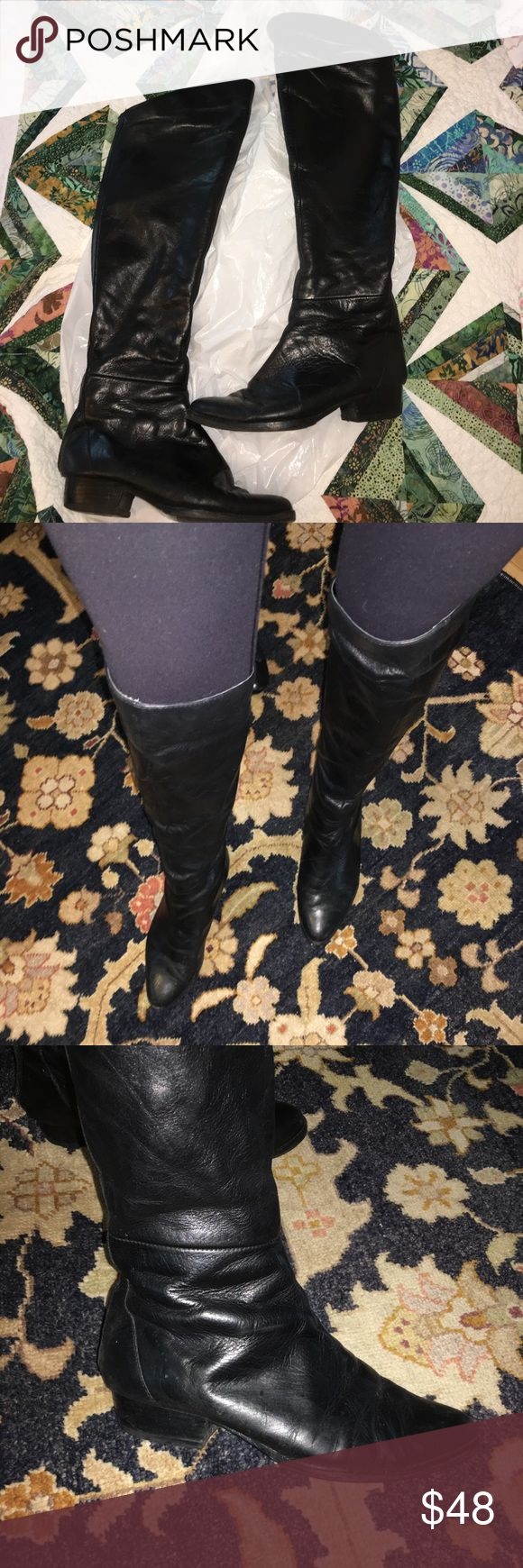 Dolce Vita black leather knee high boots Size 8 black leather knee high flat riding boot by Dolce Vita. Previously worn and are 3 years old purchased from Bloomingdales however I have brought them twice to the shoemaker prior to each season for a touch-up cleaning. Back zips up with no problem and new soles were put on this past September (2016). I am 5'7 with thin, but athletic legs and there is still room around my calf to knee levels. These fit right above my front knee when worn…