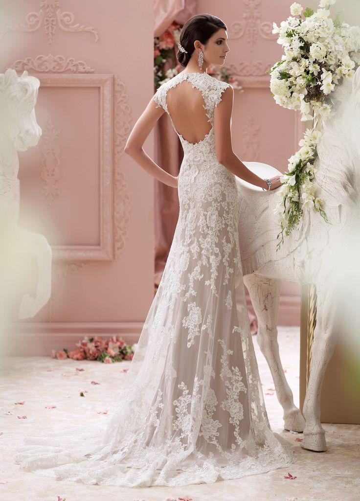 mon cheri bridals 115229 – Lourdes -     Lace wedding dresses with cap sleeves, corded lace appliqué and tulle over soft satin slim A-line cage wedding dress with lace cap sleeves, tulle and corded lace appliquéd deep Queen Anne neckline, sweetheart bodice adorned with hand-beaded jeweled motif and corded lace, scalloped lace open keyhole back bodice with double covered buttons, soft satin slim underskirt with sweep train, tulle and matching lace appliquéd cage overskirt with scalloped hem…
