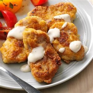 Breaded Pork Tenderloin Recipe -Meat is a hard sell with my teenage daughter, unless I make it look like a restaurant dish. Drizzle ranch dressing or barbecue sauce on top, and it's a home run. —Donna Carney, New Lexington, Ohio