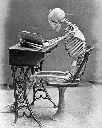 Resultado de imaxes para esqueletos leyendo