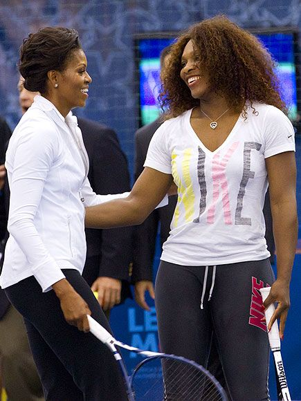 Do you want forehand or backhand .Michelle Obama & Serena Williams