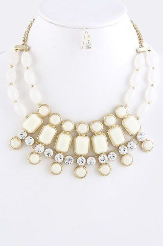 """Jewel Ivory Acrylic Statement Necklace With Gold Accent -Acrylic Statement Necklace With Gold Accent And Crystals StarShine Jewelry. $24.10. Lead compliant. Length approx 18"""". Acrylic statement necklace. Lobster claw clasp with 3"""" extender"""
